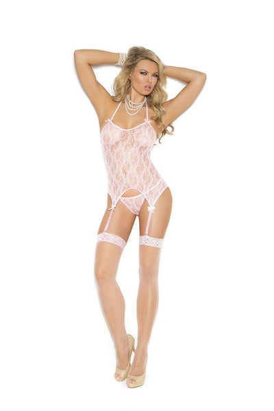 Three piece set Lace camisette, g-string and stockings  Baby Pink