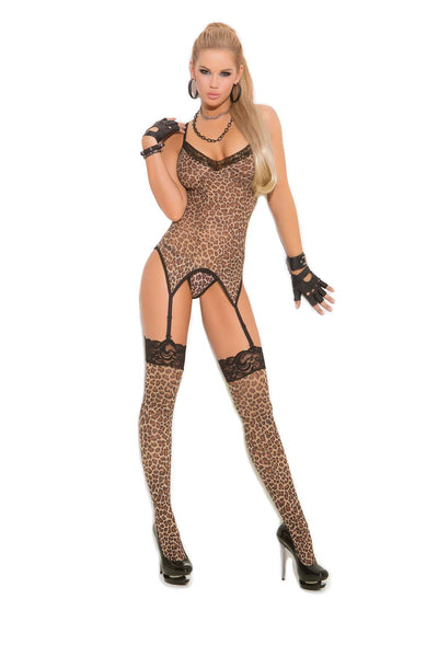 Three piece set Leopard print camisette, g-string and stockings  Leopard