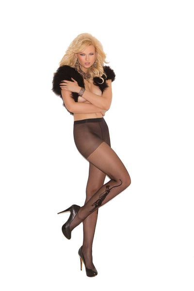 Tiger tattoo sheer pantyhose Black