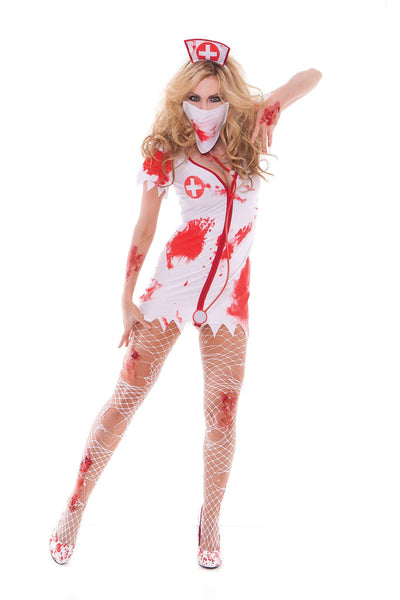 Bloodbath Betty - 4 pc costume includes dress, head piece, mask and stethoscope  White/Red
