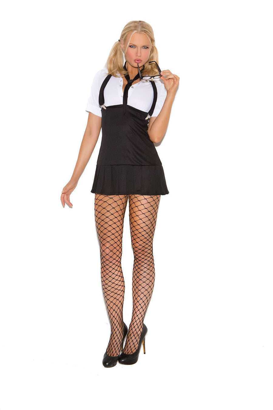 Business School Girl - 2 pc costume includes short sleeve mini dress with detachable suspenders and neck tie Black/White