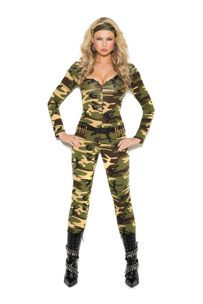 Combat Warrior - 3 pc costume includes long sleeve zip  front jumpsuit, belt with bullets and head scarf  Camouflage