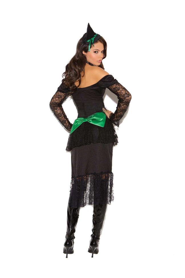 Emerald Nites Witch - 3 pc costume includes dress with  layered bustle, neck piece and head piece  Black