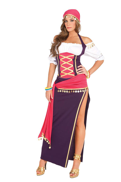Gypsy Maiden - 5 pc costume includes off the shoulder  halter top, skirt, sash, head scarf and bracelets  Purple/White