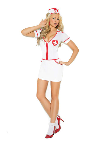 Heart Throb Hottie - 2 pc costume includes zip front mini  dress and head piece  White