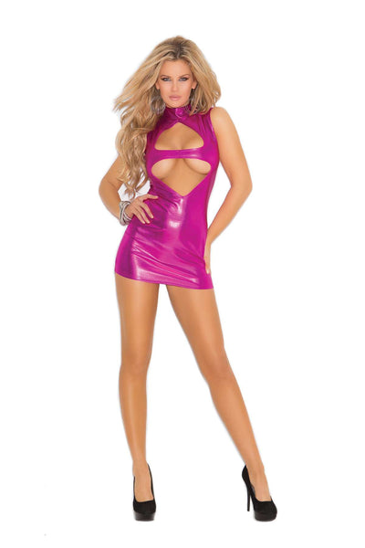 Keyhole front mini dress with cut out back  Hot Pink