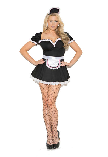 Plus Size Maid To Please - 3 pc costume includes mini dress, apron  and head piece  Black/White
