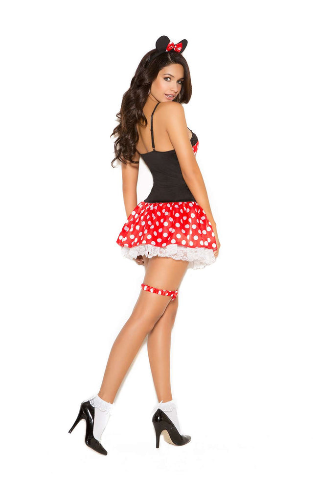 Miss Mouse - 3 pc costume includes mini dress, head piece and leg garter  Black/Red with White Polka Dots