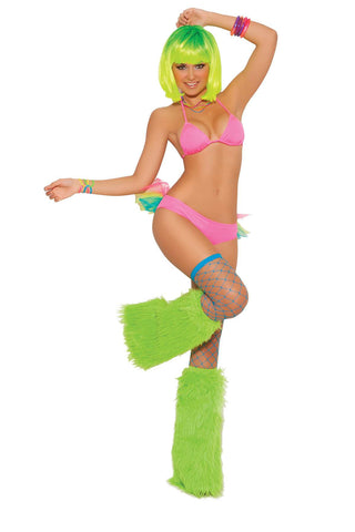 """Neon Nites"" Lycra string bra top with matching tutu panty  *Available Boxed Neon Pink"