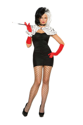 Sexy Dog Napper - 6 pc costume includes bandeau mini  dress, shrug, neck piece, gloves, wrist band and cigarette  holder  Black