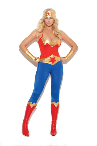 Super hero - 5 pc costume includes cami top, pants, belt,  gloves and head piece Red/Blue