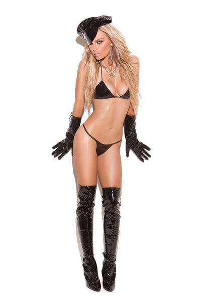 2 piece set Micro mini vinyl bra and matching  g-string  Black