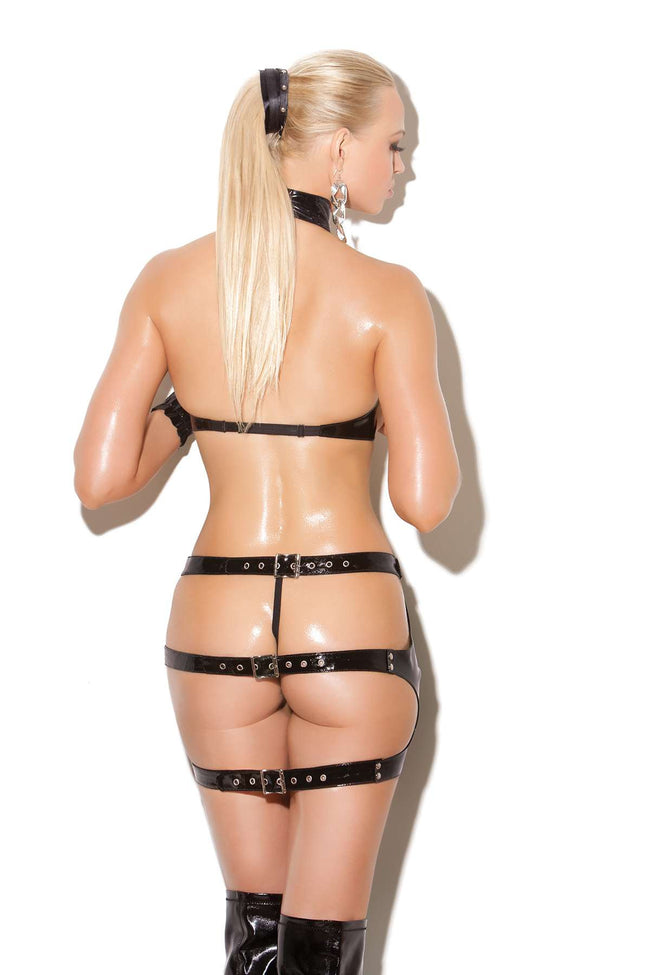 2 piece set Underwire vinyl cupless bra with  adjustable buckle closure Vinyl spanking skirt with  adjustable buckle closure *Available Boxed Black