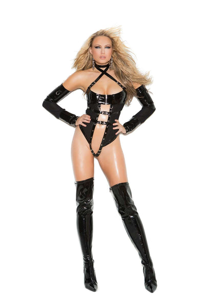 2 piece set Vinyl and fishnet teddy with underwire  cups, zipper front, criss cross halter neck, buckle  trim and nail heads Thong back Matching arm  guards included *Available Boxed Black