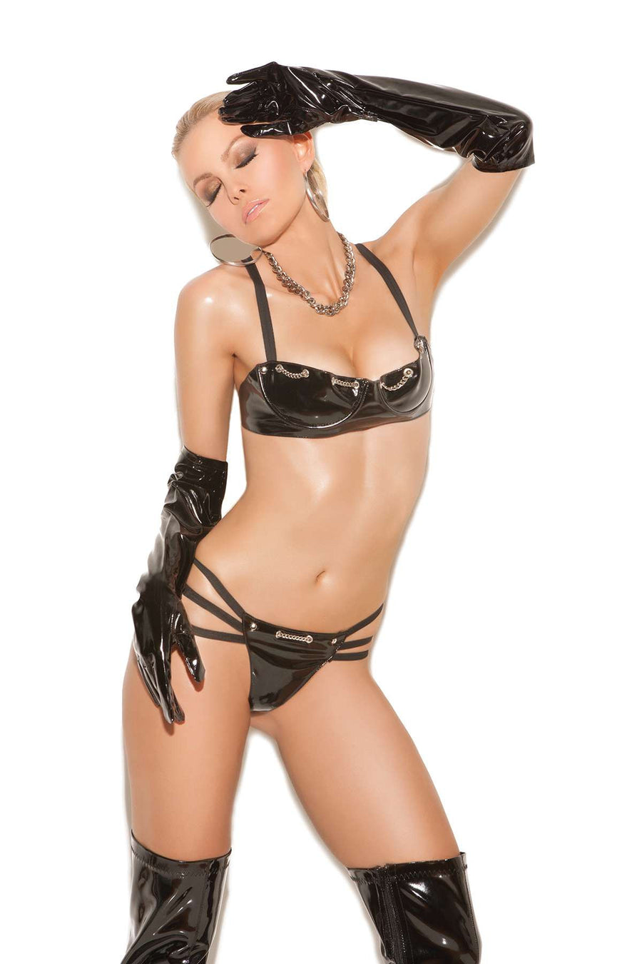 2 piece set Vinyl underwire bra with chain detail,  adjustable straps and back closure Matching  g-string with triple straps *Available Boxed Black