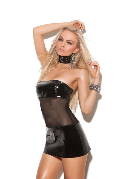 Bandeau vinyl and mesh mini dress  Black