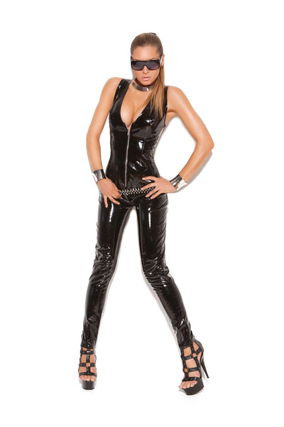 Deep V vinyl catsuit with zipper front  Black