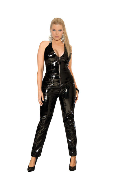Plus Size Deep V vinyl catsuit with zipper front  Black
