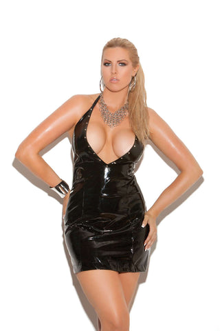 Plus Size Deep V vinyl halter dress with nail heads  Black