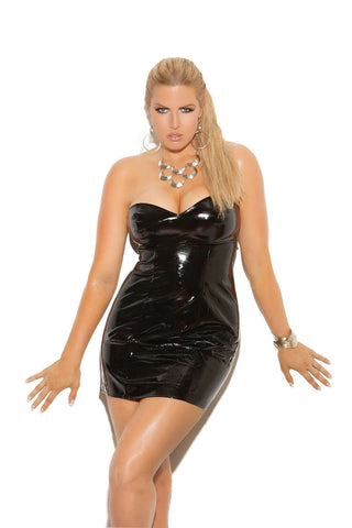 Plus Size Strapless vinyl spanking dress with adjustable buckle closure *Available Boxed Black