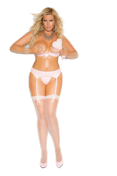 Plus Size Vinyl demi bra with underwire cups, lace trim,  adjustable straps and back closure  Pink