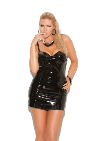 Plus Size Vinyl mini dress with underwire cups, halter neck and elastic strap back detail *Available Boxed Black