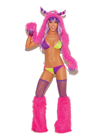 Furry Monster hood Neon Pink