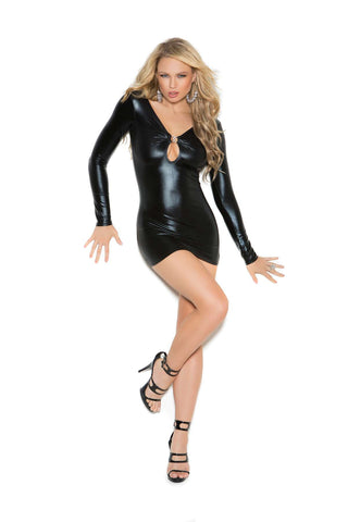 """Wet Look"" Long sleeve mini dress with rhinestone accents and ruched back  Black"