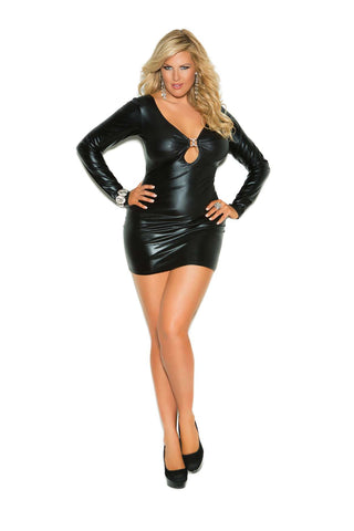 "Plus Size ""Wet Look"" Long sleeve mini dress with rhinestone accents and ruched back  Black"