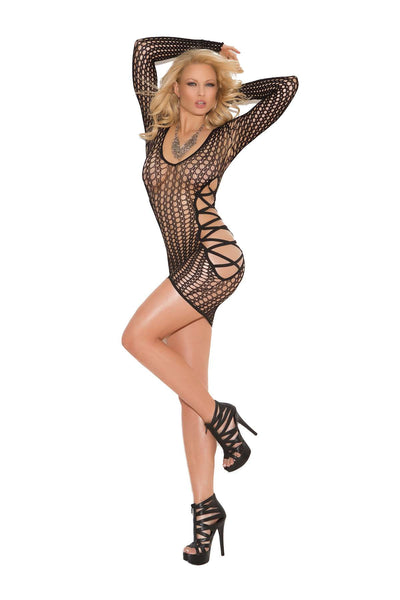Deep V long sleeve crochet mini dress with criss cross sides  Black