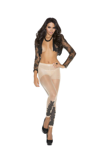 Sheer leggings with floral design Nude