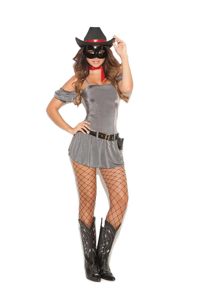 Trusty Scout - 5 pc costume includes dress with attached  sleeves, neck scarf, mask, belt and holster Grey