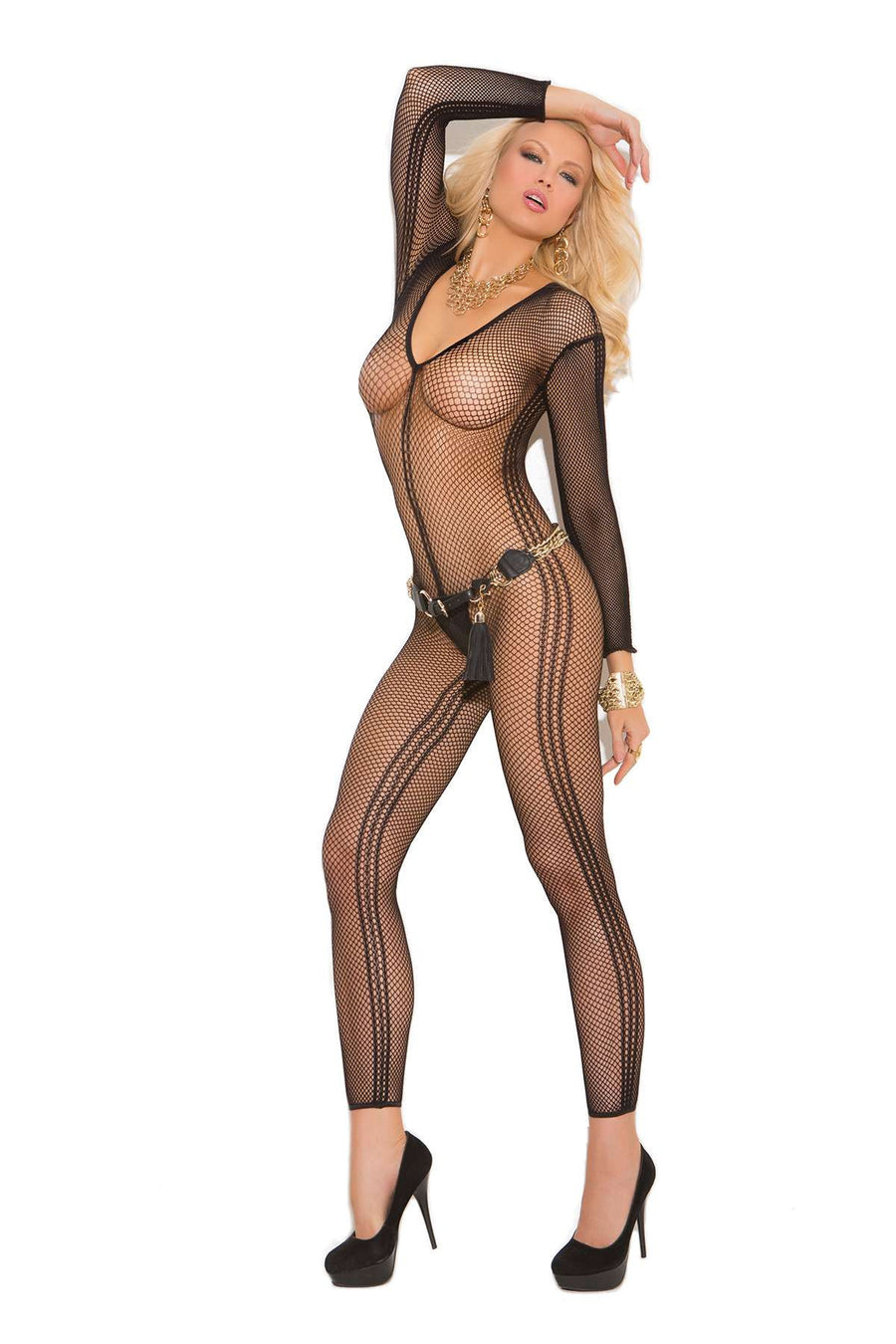 Deep V long sleeve fishnet and pothole bodystocking with open crotch  Black