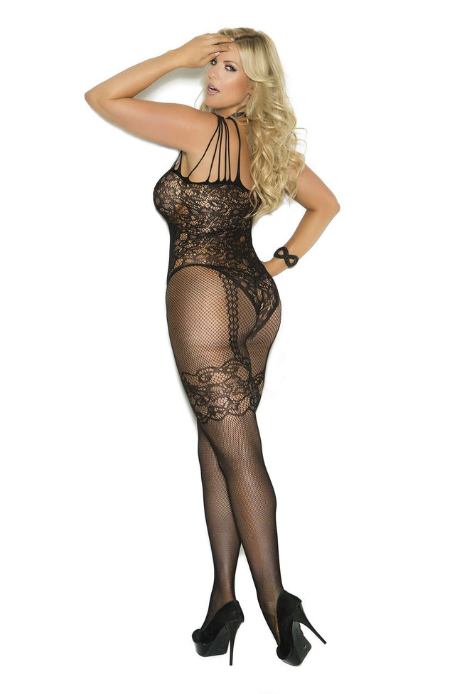 Plus Size Fishnet and lace bodystocking with open crotch  Black