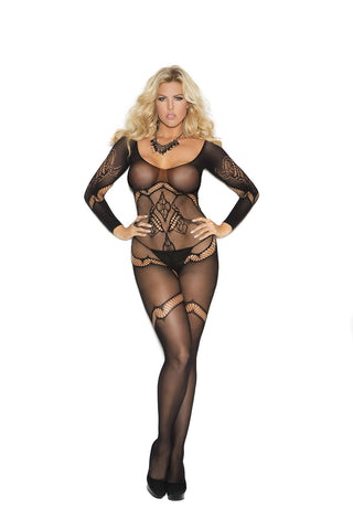 Plus Size Long sleeve crochet bodystocking with floral design and open crotch  Black
