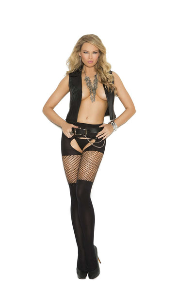 Opaque crotchless pantyhose with diamond  net top  Black