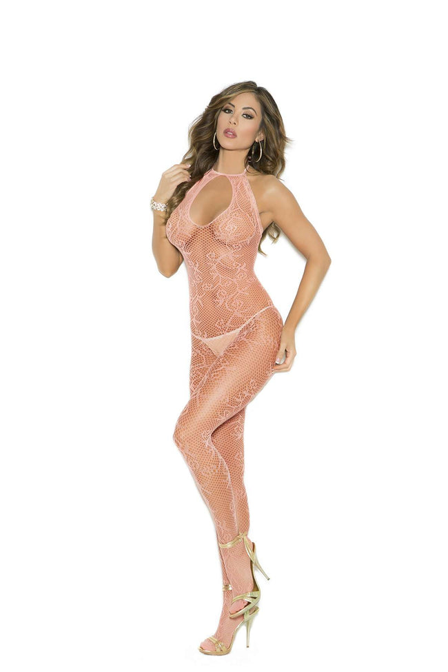 Scroll pattern fishnet bodystocking with keyhole  front and open crotch  Peach