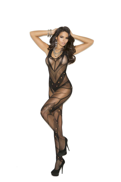 Seamless net crochet bodystocking with open crotch  Black