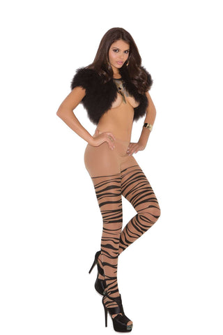 Plus Size Sheer zebra print pantyhose Nude/Black