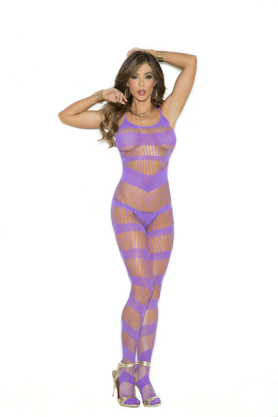 Strappy bodystocking with open crotch  Purple
