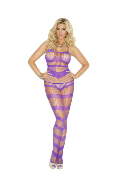 Plus Size Strappy bodystocking with open crotch  Purple