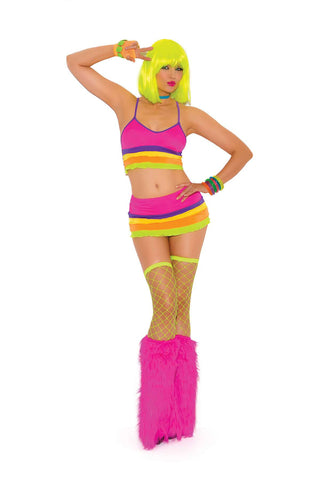 """Neon Nites"" Lycra bra top and matching mini skirt with ruffle trim Adjustable straps *Available Boxed Neon"