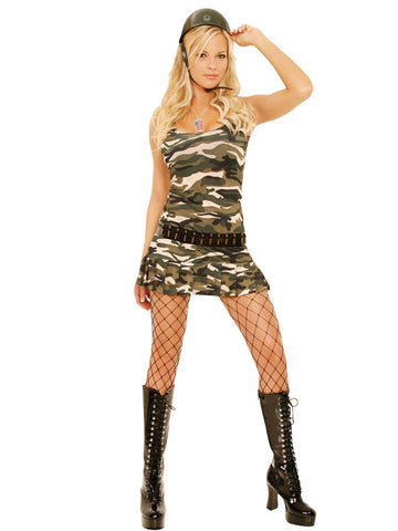 Cadet Cutie - 4 pc costume includes mini dress with  pleated skirt, bullet belt, dog tags and helmet Camouflage