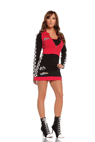 High Speed Hottie - 2 pc costume includes dress and long sleeve jacket  Black/Red