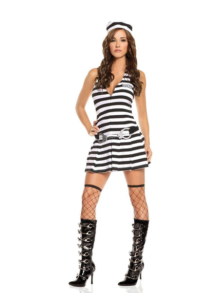 Irresistible Inmate - 3 pc costume includes dress, handcuff belt and hat Black/White