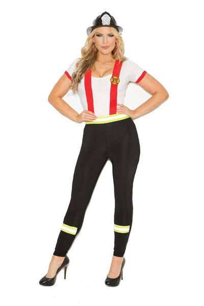 Plus Size Light My Fire Hero - 2 pc costume includes pants with  attached suspenders and a short sleeve top  Black/White