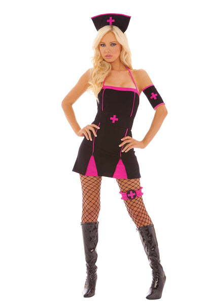 Midnight Medic - Black Light Receptive 5 pc costume  includes dress, belt, arm band, leg garter and head piece  Black/Pink