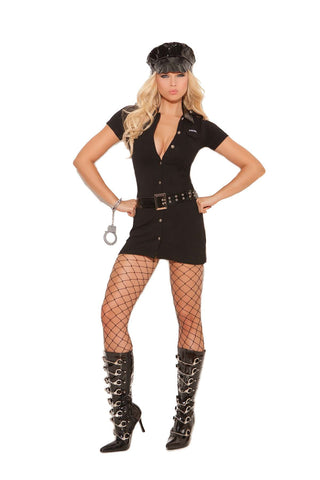 Officer Arrest Me - 4 pc costume includes button front dress with detachable belt, vinyl hat and handcuffs Black