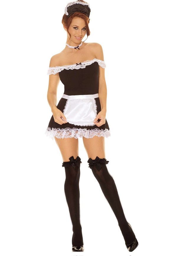 Sexy Maid - 4 pc costume includes off the shoulder dress,  apron, neck piece and head piece Black