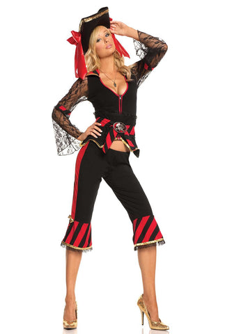 Treasure Hunter Temptress - 5 pc costume includes long sleeve jacket, capri's, waist cincher, belt and pirate buckle Black/Red
